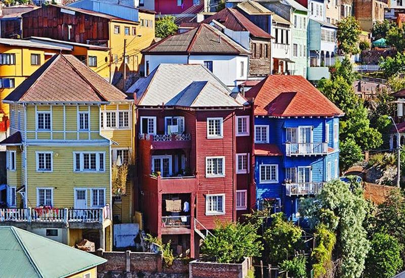 Chili valparaiso maisons colorées