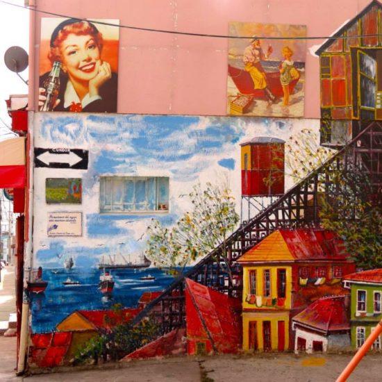 Chili valparaiso fresque peinture mur street art