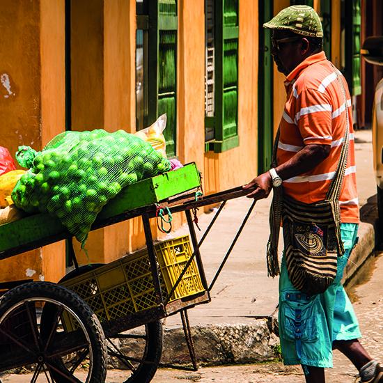 colombie marché produits locaux vendeur étal fruits légumes rue