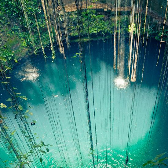 Mexique cenote yucatan merida puit d'eau naturel valladolid lianes curiosité eau turquoise
